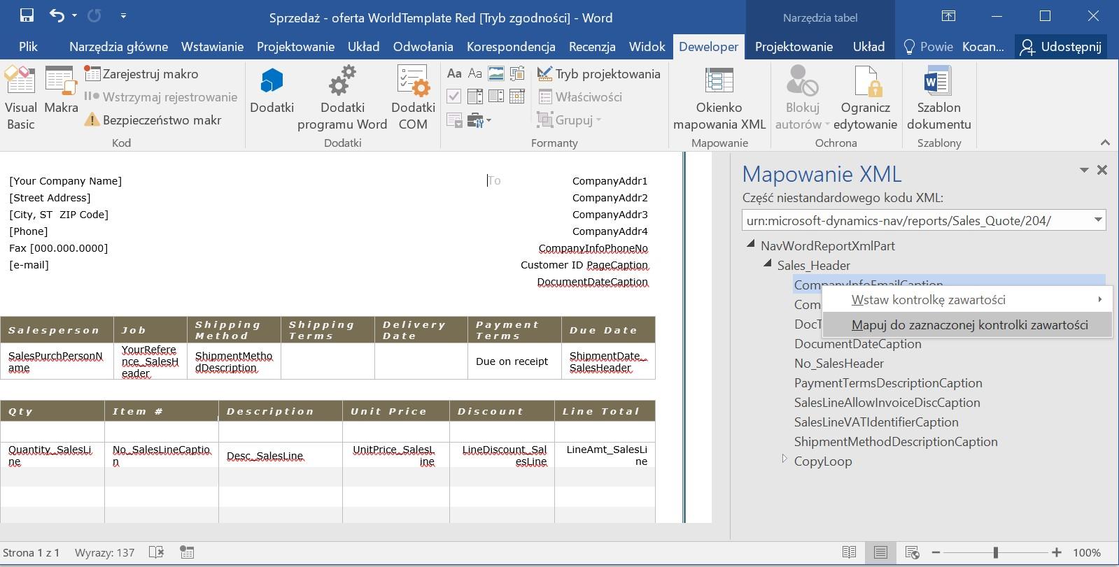 Word Template wMicrosoft Dynamics NAV 2017